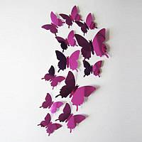(12 шт) Набор бабочек 3D (на скотче), ФИОЛЕТОВЫЕ зеркальные