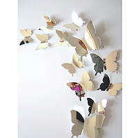(12 шт) Набор бабочек 3D (на скотче), СЕРЕБРО зеркальные