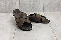 Шлепанцы Yuves (Clarks) 59 (лето, мужские, натуральная кожа, коричневый)