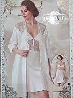 Атласный халат и сорочка, цвет белый