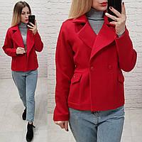 Стильное двубортное пальто - жакет, арт 826, цвет красный