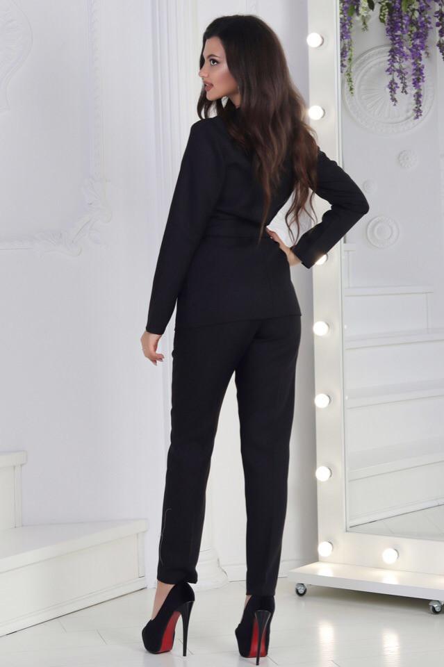 a2ff00bc612 Женский черный деловой брючный костюм - Интернет-магазин