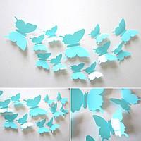 (12 шт) Набор бабочек 3D (на скотче), ГОЛУБЫЕ однотонные