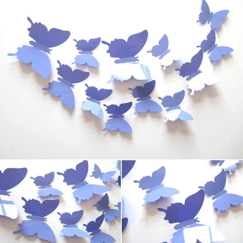 Набор бабочек 3D (на скотче), СИНЕ-ФИОЛЕТОВЫЕ однотонные