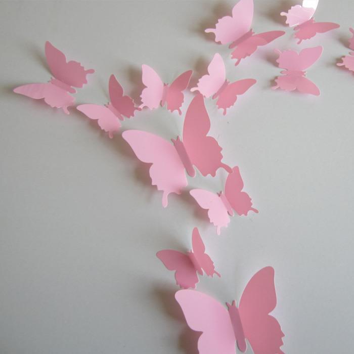 (12 шт) Набор бабочек 3D (на скотче), РОЗОВЫЕ однотонные
