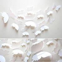 (12 шт) Набор бабочек 3D (на скотче), БЕЛЫЕ однотонные