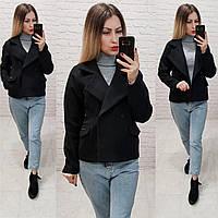 Стильное двубортное пальто - жакет, арт 826, цвет черный