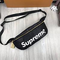 195f5cecc23d Качественная мужская сумка бананка Supreme черная поясная кожа PU унисекс  на пояс Суприм люкс реплика