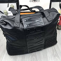 a9e16a7e6e3b Качественная мужская дорожная сумка Bikkembergs черная прессованная кожа  удобная унисекс Биккембергс реплика