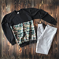 6f9dd296e611 Спортивный костюм без бренда черный с зеленой камуфляжной вставкой свитшот  серые штаны