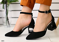 Босоножки закрытые черные замшевые на каблуке, фото 1