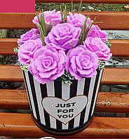 Мильні квіти KupuiDarui Букет в коробці Лілові троянди 1500 г (000141)