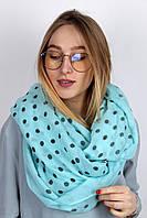 Голубой женский шарф-снуд в горохи