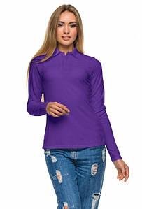 Женская футболка поло с длинным рукавом фиолетового цвета