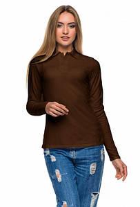 Женская футболка поло с длинным рукавом коричневая цвета