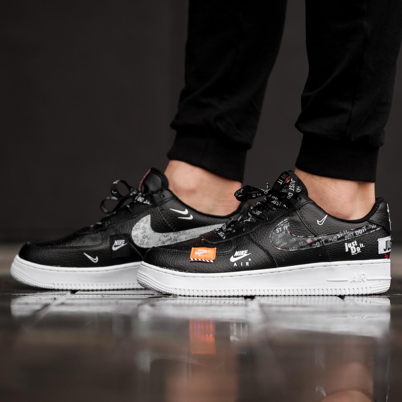 "Кроссовки Nike Air Force 1 Low Just Do It ""Black/White"" (Черные/Белые)"