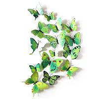 (12 шт) Набор бабочек 3D (на магните), ЗЕЛЕНЫЕ