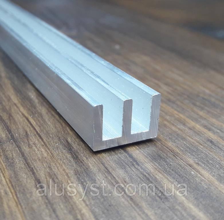 Ш-образная направляющая из алюминия 19х10х2 без покрытия
