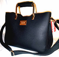 """Женская сумка, качественная """"FASHION"""", черная,  3 отделения, 0506, фото 1"""