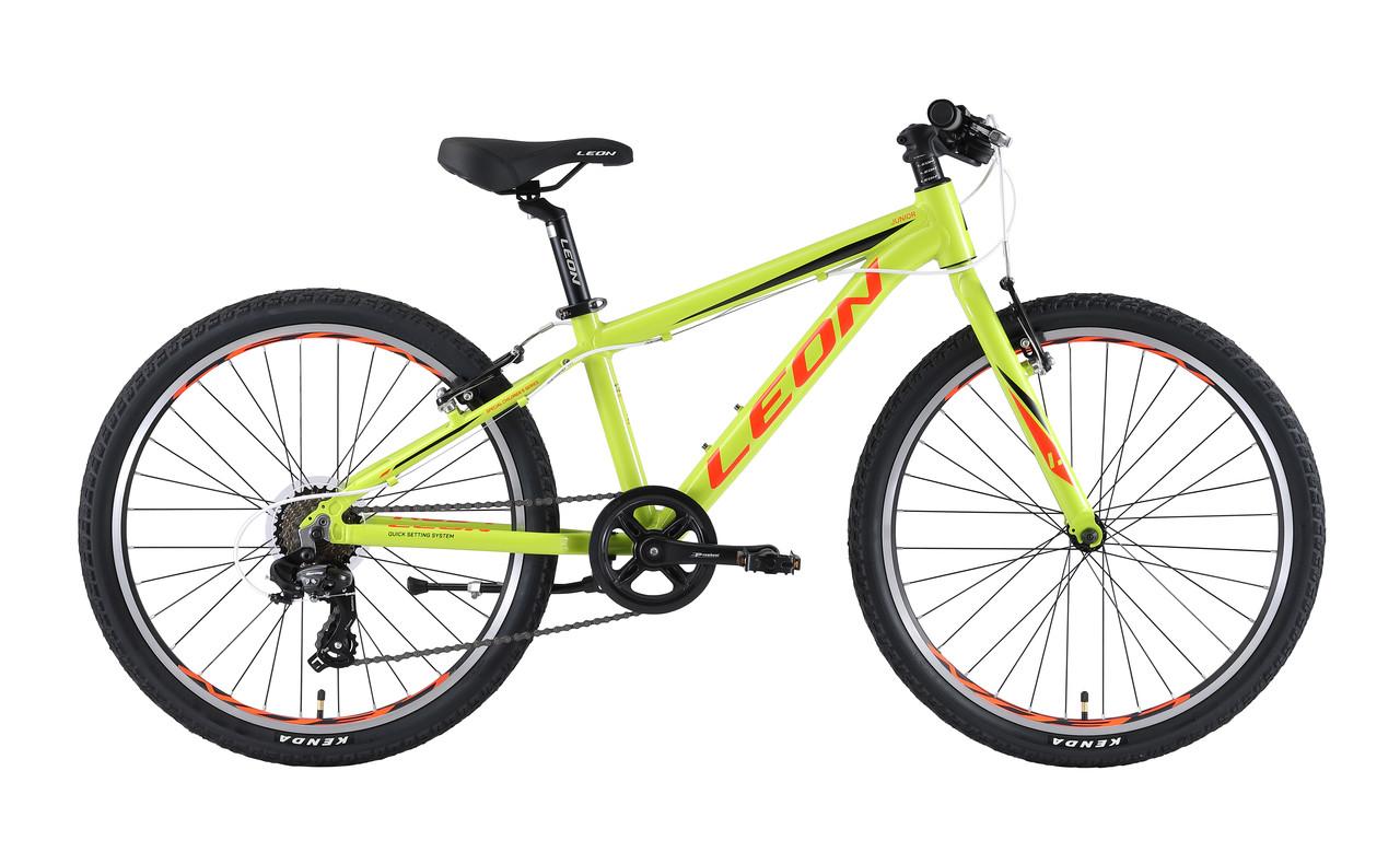 """Велосипед 24"""" Leon JUNIOR RIGID 2019 (салатно-оранжевый)"""