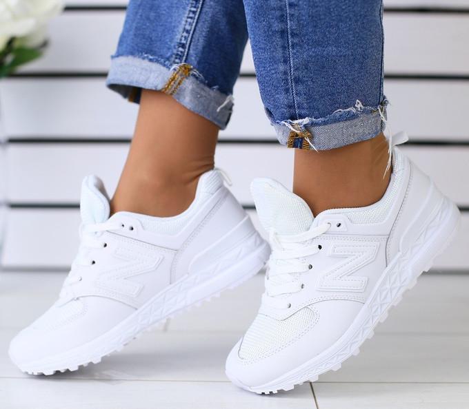 Кроссовки белые натуральная кожа с сеткой в стиле New Balance