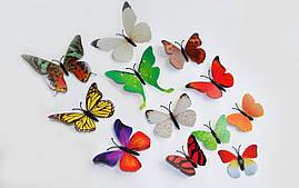 (12 шт) Набір метеликів 3D (на магніті), РІЗНОКОЛЬОРОВІ