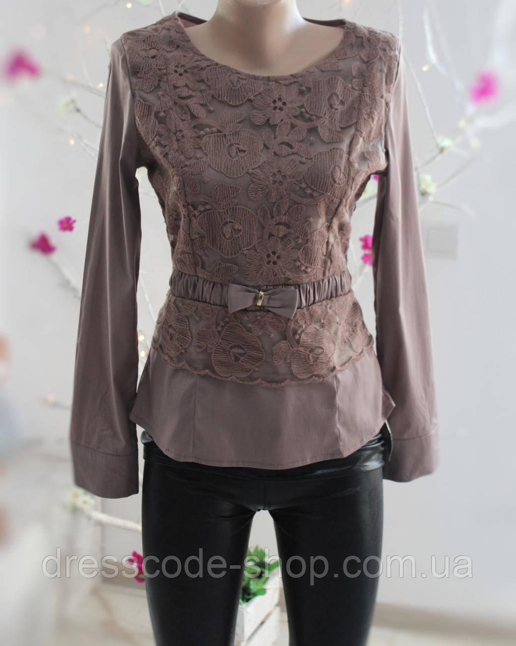 83bec5e677b Блуза коричневая с кружевом и бантом на талии коричневая - Dresscode-shop в  Житомирской области
