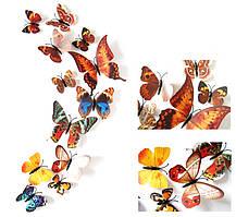 (12 шт) Набір метеликів 3D (на магніті), КОРИЧНЕВІ