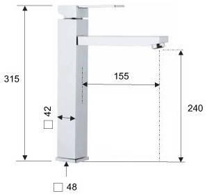Смеситель для раковины чаши высокий квадратный REMER Q10L