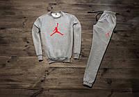 Мужской весенний серый спортивный костюм, чоловічий костюм Jordan, Реплика