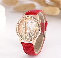Женские наручные часы Эйфелева башня с красным ремешком код 159