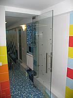 Маятниковые прозрачные двери в дом