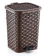 """Ведро для мусора с педалью """"Раттан"""" 6 л Dunya Plastik, Турция коричневый"""