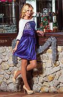 Женское атласное коктейльное платье-клеш