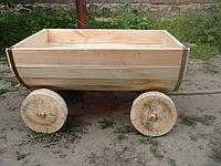 Телега декоративная деревянная без покрытия лаком, фото 1