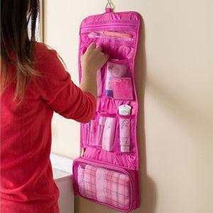 Дорожный органайзер косметичка с крючком 64*26см (розовый)