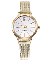 Наручные часы женские с ремешком золотистого цвета код 399