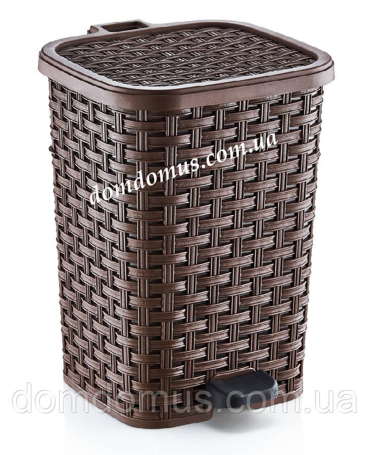 """Ведро для мусора """"Раттан"""" с педалью 12 л Dunya Plastik, Турция коричневый"""