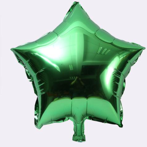 Шар фольгированный звезда ЗЕЛЕНАЯ, 9 дюймов (23 см)