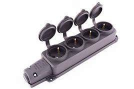 Розетка четырехместная с защитной крышкой каучуковая e.socket.rubber.029.4.16, с з/к, 16А E.NEXT (s9100039)