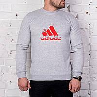 Мужской спортивный серый свитшот, кофта, лонгслив, реглан Adidas (красный крупный лого), Реплика