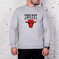 Мужской спортивный серый свитшот, кофта, лонгслив, реглан Chicago Bulls, Реплика