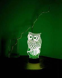 3D светильник-ночник «Сова» 3D Creative