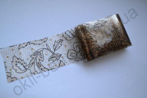 Фольга для дизайна ногтей, литья (переводная). Цвет: коричнево-черные цветы (Размер: 4см на 1 метр)