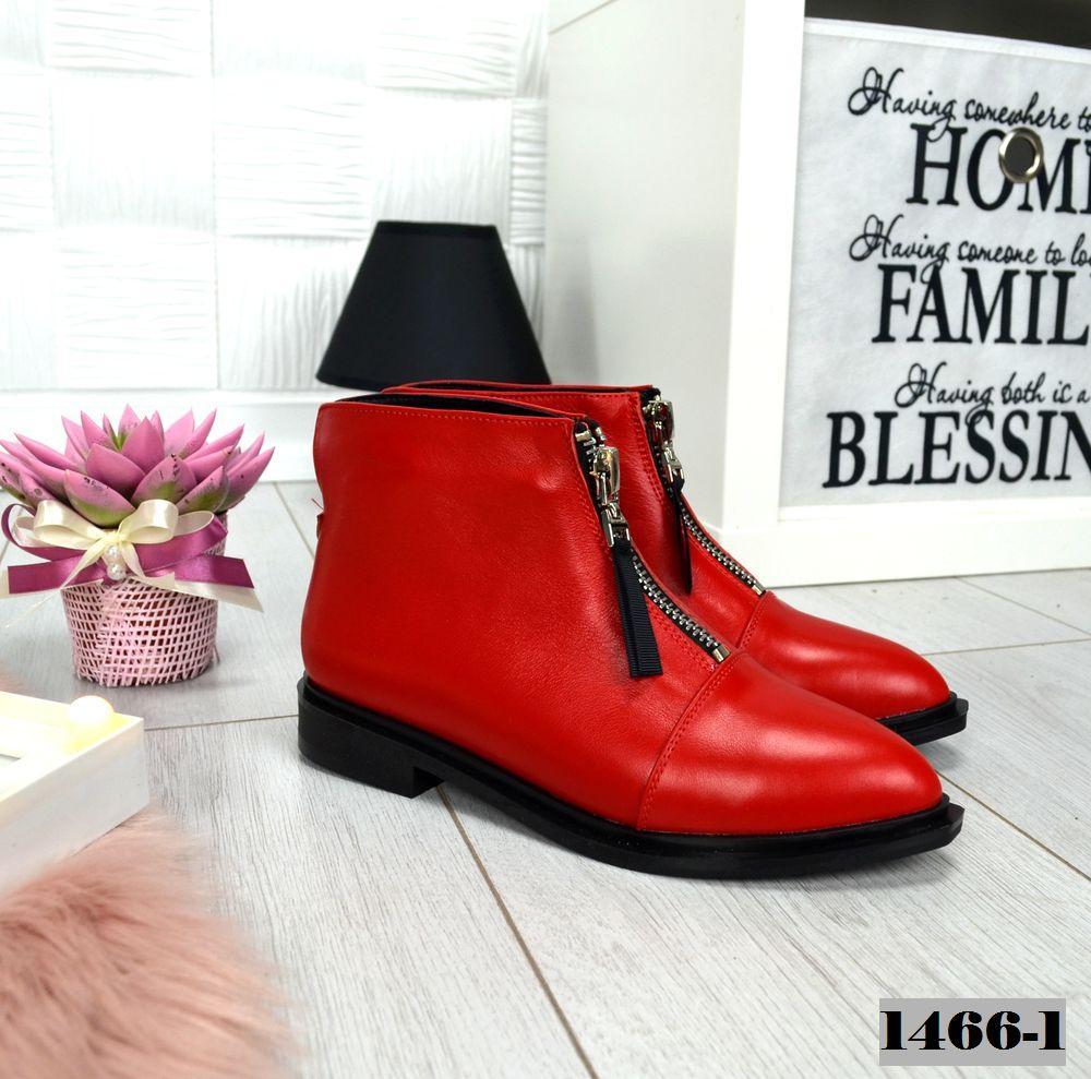 Демисезонные женские кожанные красные ботинки