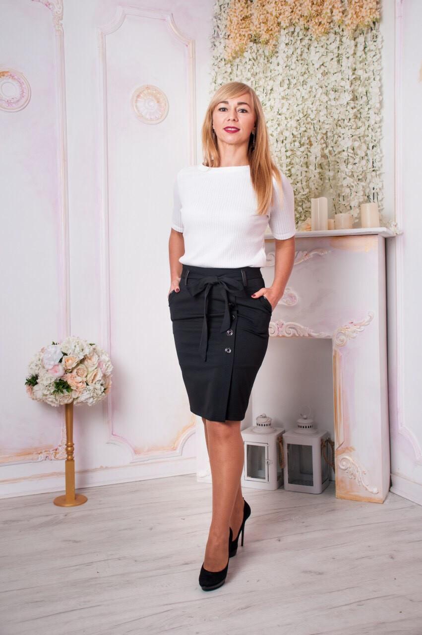 7dc88ebfbb0 Стильная женская юбка с карманами Челси черная  продажа