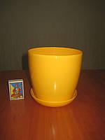 """Вазон цветочный """"Матильда"""" с подставкой V=1,4л (d=14см h=12,5см) темно-желтый """"Омела"""", фото 1"""