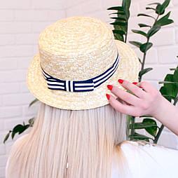 Летняя соломенная шляпа канотье
