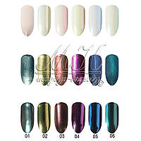 "Дизайн для ногтей втирка ""Shell powder"" супер мелкая, 6 цветов"