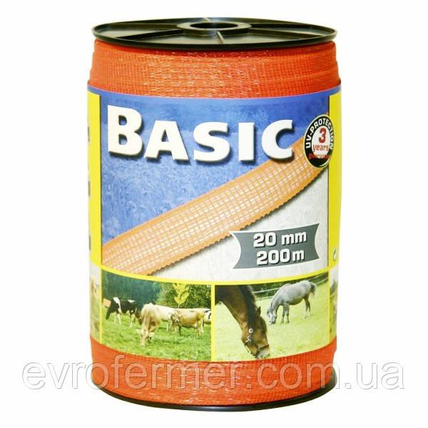 Лента (тесьма) Basic оранжевая 20 мм для электро-пастуха, Германия